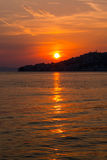 设置在Igrane,克罗地亚的太阳 库存图片