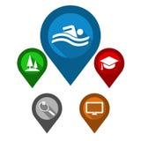 设置地图尖/蓝色别针水池/绿色别针公园/红色p 免版税库存图片