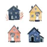 设置多彩多姿的逗人喜爱的木房子 库存例证