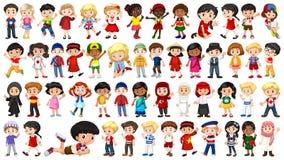 设置多文化孩子字符 库存例证