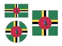 设置多米尼加的旗子 向量例证