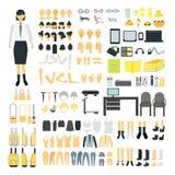 设置女小学生建设者字符成套工具集合 女性身体零件、制服、袋子、后面和前面面孔,发型,礼服,衣裳 库存图片