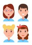 设置妇女面孔,字符建设者发型 向量例证