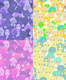 设置妇女,紫色的女孩的面孔 例证无缝的向量 图库摄影