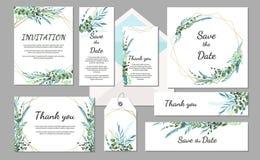 设置婚礼邀请与叶子和几何框架的葡萄酒卡片 库存例证