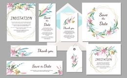 设置婚礼邀请与桃红色百合和几何框架的葡萄酒卡片 拉长的花现有量 免版税库存照片