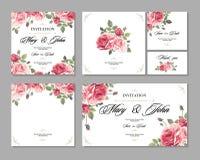 设置婚礼邀请与玫瑰和古董装饰元素的葡萄酒卡片 免版税库存照片