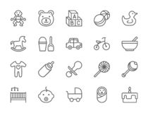 设置婴孩和童年线象 玩具,自行车,乳头,婴儿推车和更 皇族释放例证
