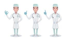 设置字符医生 Doc拿着注射器 医疗保健和医疗帮助 医生,咨询,显示正面的姿态 库存例证