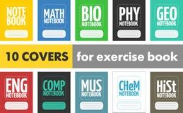 设置学生练习本的10简单的现代盖子 免版税库存照片