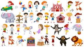 设置孩子和游艺集市 向量例证
