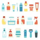 设置家用化工产品和化妆用品、传染媒介例证、瓶、喷雾器、牙刷和管 库存例证