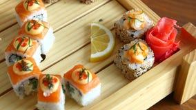 设置寿司集合 有筷子的手寿司的 免版税库存照片