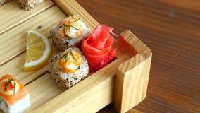 设置寿司集合 有筷子的手寿司的 图库摄影