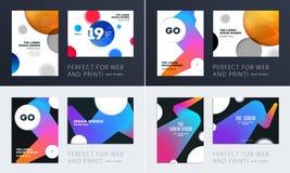 设置小册子软的模板盖子设计  五颜六色的现代摘要,与形状的年终报告烙记的 免版税图库摄影