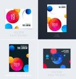 设置小册子软的模板盖子设计  五颜六色的现代摘要,与形状的年终报告烙记的 免版税库存照片