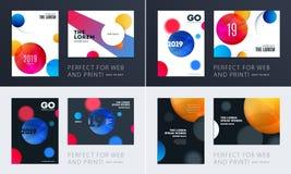 设置小册子软的模板盖子设计  五颜六色的现代摘要,与形状的年终报告烙记的 库存图片