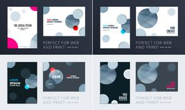 设置小册子软的模板盖子设计  五颜六色的现代摘要,与形状的年终报告烙记的 图库摄影
