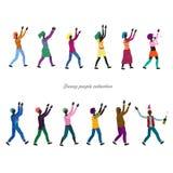 设置小欢乐的风格化人民拍的手 库存例证
