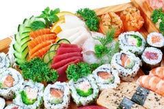 设置小组异乎寻常的食物寿司。 免版税库存照片
