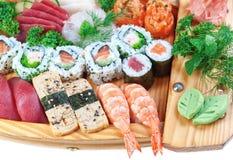 设置小组异乎寻常的食物寿司,乌贼。 免版税库存图片