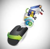 设置工具。无线计算机老鼠 免版税库存照片