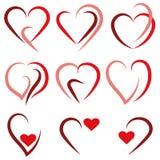 设置心脏商标-传染媒介 库存图片