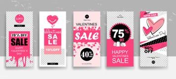设置情人节销售故事模板 放出 在时髦样式的创造性的普遍编辑可能的卡片与手拉 向量例证