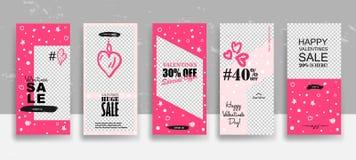 设置情人节销售故事模板 放出 在时髦样式的创造性的普遍编辑可能的卡片与手拉 库存例证