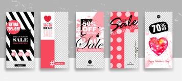 设置情人节销售故事模板 放出 在时髦样式的创造性的普遍编辑可能的卡片与手拉 皇族释放例证