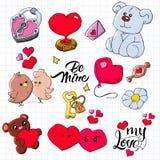 设置手拉的乱画爱元素情人节卡片,贴纸,邮票设计 与心脏,爱,鸟的传染媒介例证, 皇族释放例证