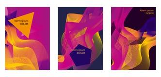 设置抽象几何样式的淡紫色,紫色,橘黄色 库存例证