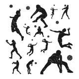 设置排球运动员传染媒介 排球运动员剪影  r 库存照片