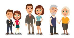 设置握手的世代夫妇 从孩子的不同的年龄 向量例证