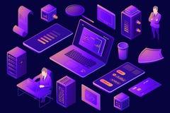 设置数字技术设计的元素,服务器室机架农场,等量人民,年轻人程序员与 向量例证