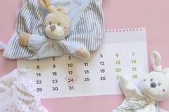 设置新出生的辅助部件预期与盘旋的第24二十四,婴孩衣裳,在桃红色的玩具的儿童日历 免版税库存图片