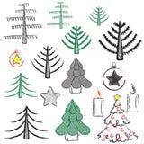设置新年和圣诞节 免版税库存照片