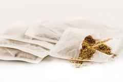 设置方形的干燥袋子用茶 免版税库存图片