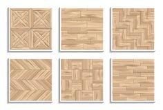设置无缝的木条地板纹理 3D木材料的样式 向量例证