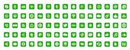 设置普遍的社会媒介商标象Instagram Facebook Twitter Youtube WhatsApp LinkedIn在白色背景的Pinterest Blogd 向量例证