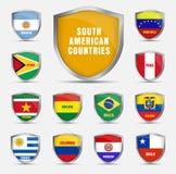 设置有南美国家的旗子的盾 免版税库存图片