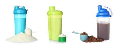 设置有可口蛋白质震动的体育瓶 库存照片