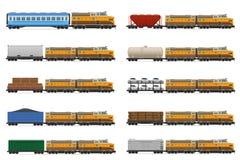 设置有机车和无盖货车传染媒介illust的象铁路火车 免版税图库摄影