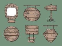 设置木标志 剪影图表 木板走道背景 向量例证