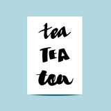 设置标签和商标茶:大胆的文字 现代书法,在上写字 库存图片