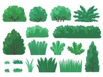 设置树和灌木的例证在最小的样式 库存图片