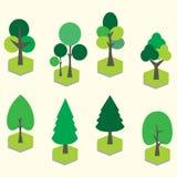 设置树森林自然元素 免版税库存照片