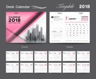 设置桌面日历2018年模板设计,桃红色盖子,套12个月 库存例证