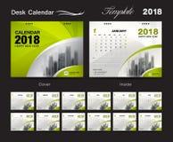 设置桌面日历2018年模板设计,绿色盖子 免版税库存照片