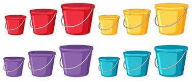 设置桶不同颜色和大小 皇族释放例证